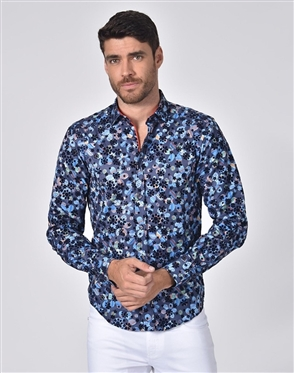 Austere Luxury Floral Flocking Printed Jacquard Shirt