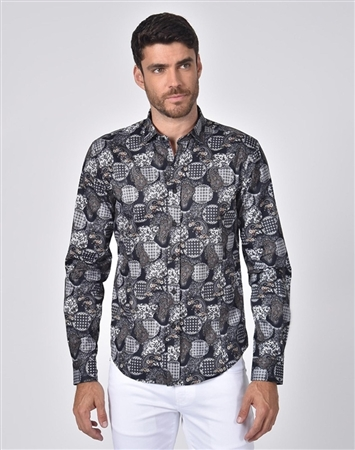 Luxury Sport Shirt - Black Paisley Dress Shirt