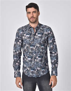 Austere Luxury Tropical Beach And Leaves Print Shirt