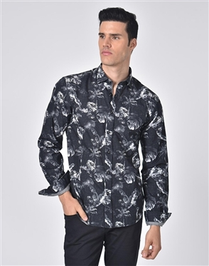 Luxury Sport Shirt - Silvered Floral Print Shirt