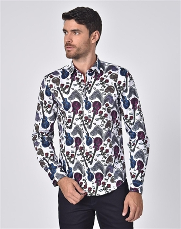 Austere Luxury Skulls And Roses Rock'n'Roll Print Shirt