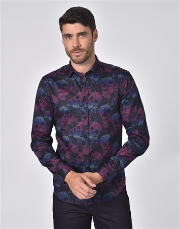 Austere Luxury Neon Skull And Bones With Paisley Print Shirt