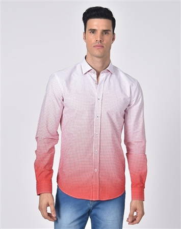 Luxury Sport Shirt - Red Gradient Dot Fashion Shirt