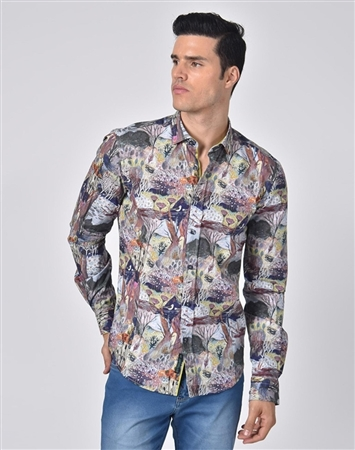 Luxury Sport Shirt - Multicolored Forest Print Dress Shirt