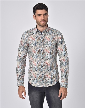 Austere Rain Forest Leaves Print Shirt