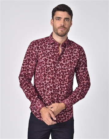 Austere Luxury Floral Flocking On Chevron Print Shirt