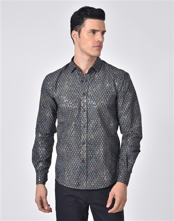 Austere Luxury Grid And Vine Print Foil Jacquard Shirt