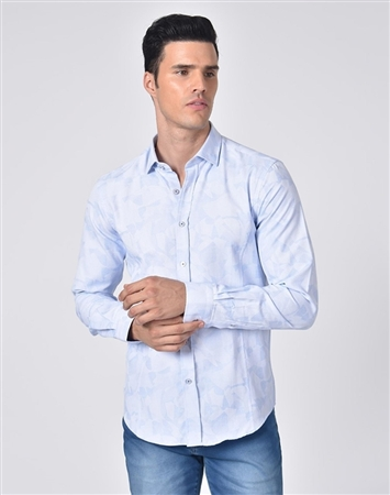 Austere Luxury Soft Blue Geo-Shapes Print Jacquard Shirt