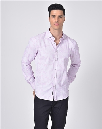 Austere Luxury Pink Geo-Shapes Print Jacquard Shirt