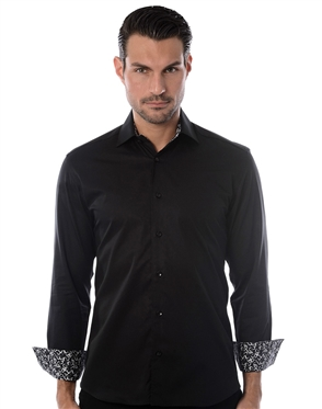 Sporty Black Dress Shirt