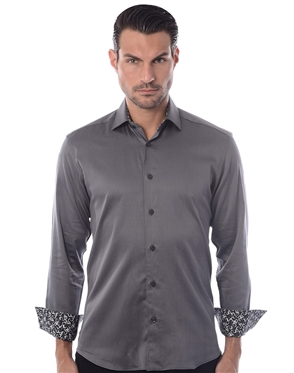 Sporty Gray Dress Shirt