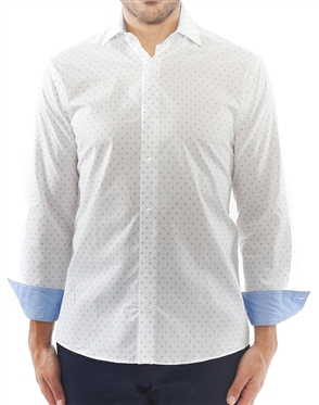 White Blue Circle Dot Dress Shirt | Luxury Sport Shirt