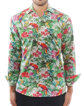 White Floral Sport Shirt