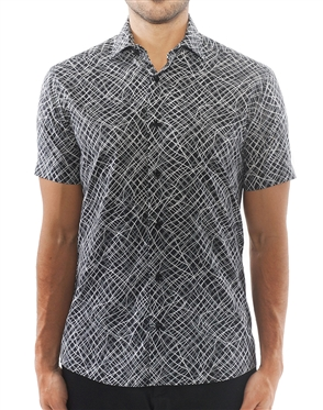 Black Geometric Line Print Dress Shirt