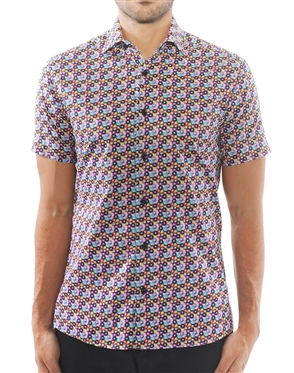 Multicolored Circle Print Dress Shirt