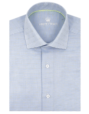 Luxury Cotton Short Sleeve Dress Shirt in Blue