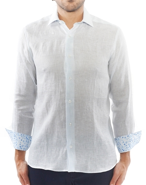 White and Blue Dash Check Dress Shirt