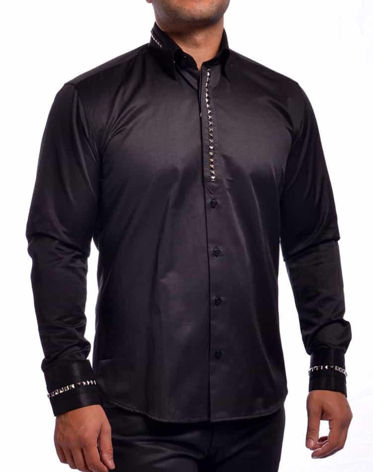 Mondo Jeans Dress Shirt Men Black Stud Shirt