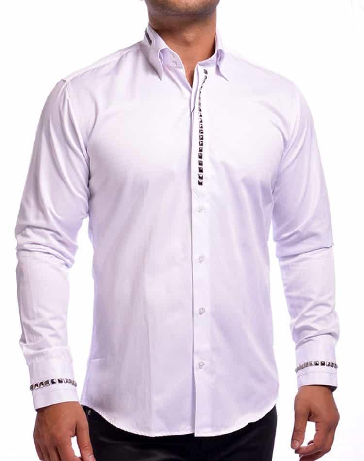 Mondo Jeans Dress Shirt White Stud Dress Shirt