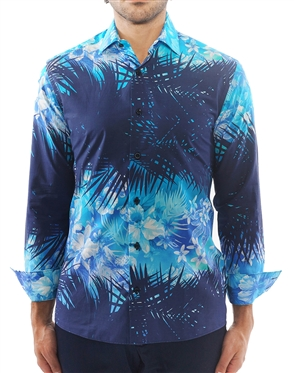 Navy Turquoise Luxury Dress Shirt