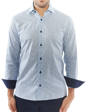 Elegant Blue Leaf Print Dress Shirt