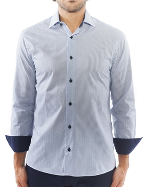 Light Blue Block Repeat Patterned Shirt