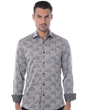 Shop Men's Sporty Dress Shirts - Gray Classic Car Print Woven