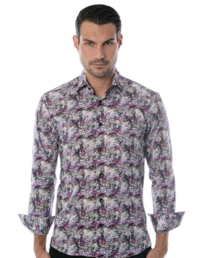 White Pink Paisley Fashion Shirt