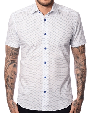 White Blue Floral Short Sleeve Shirt