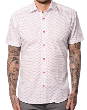 White Pink Floral Short Sleeve Shirt
