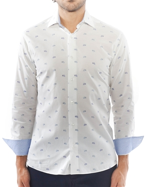 White Bicycle Print Dress Shirt