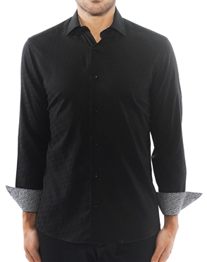 Luxury Black Jacquard Dress Shirt