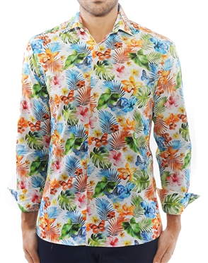 Sporty White Floral Dress Shirt