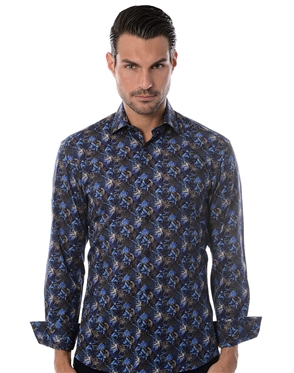 Navy Multi Designer Shirt