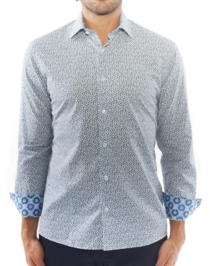 White Blue Dotted Dress Shirt