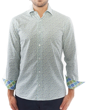 White Green Dotted Dress Shirt