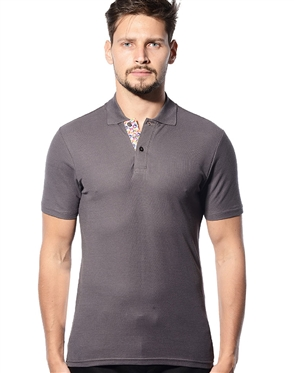 Men Designer Polo Shirts- Gray Short Sleeve Polo