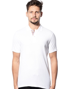 Men Designer Polo - White two button fashion polo