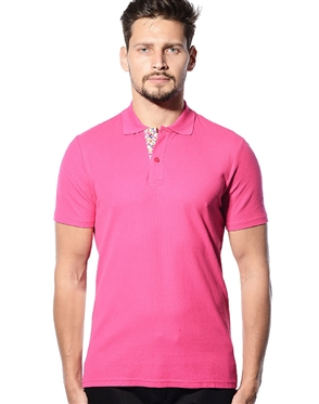 Designer Polo Shirt- Pink Short Sleeve Designer Polo