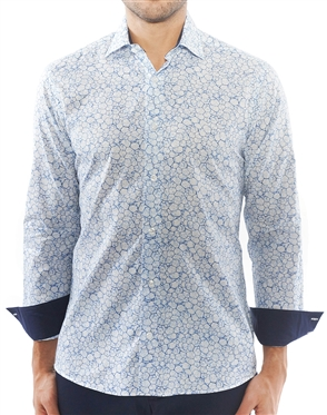 Blue Cobblestone Print Dress Shirt