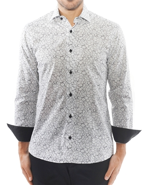 Black Cobblestone Print Dress Shirt
