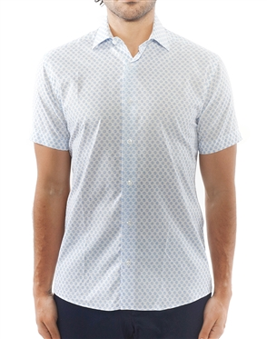 White Blue Sketch Circle Print Dress Shirt | Short Sleeve Button Down