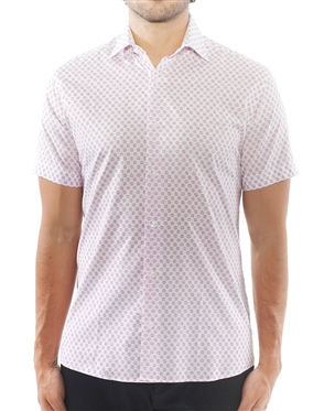 White Lavender Sketch Circle Print Dress Shirt | Short Sleeve Button Down