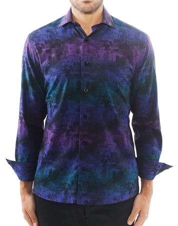 Purple Gradient Jacquard Dress Shirt