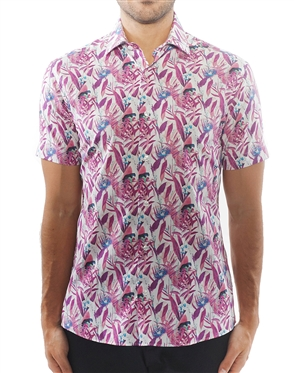 Artistic Fuchsia Floral Dress Shirt
