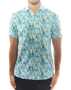 Artistic Turquoise Floral Dress Shirt