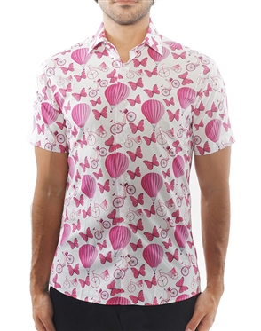 Modern Pink Balloon Print Dress Shirt | Short Sleeve Button Down
