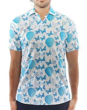 Modern Turquoise Balloon Print Dress Shirt | Short Sleeve Button Down