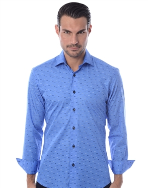 Blue Bowtie Print Dress Shirt