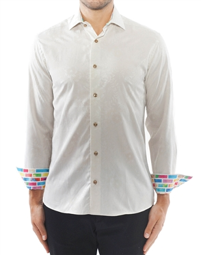 Tan Jacquard Floral Dress Shirt